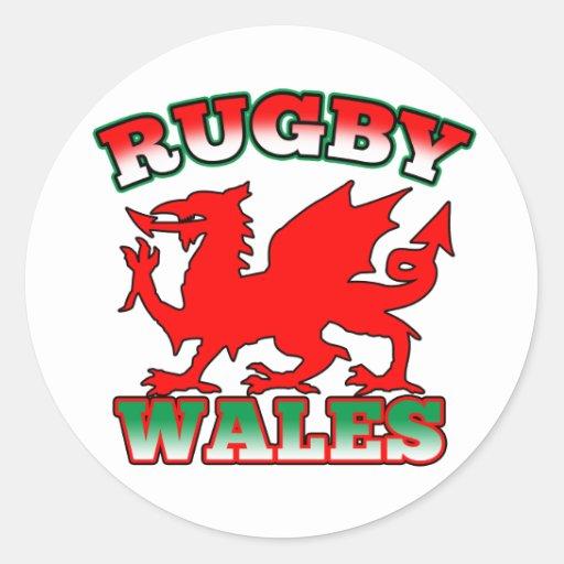 Dragon de drapeau du Pays de Galles de rugby Adhésifs Ronds