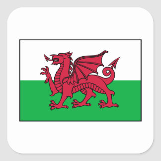 Dragon de drapeau du Pays de Galles Gallois Autocollants Carrés