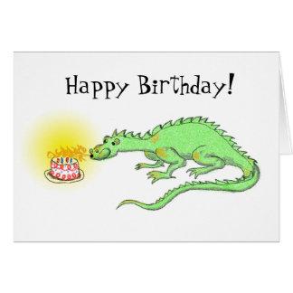 Dragon de joyeux anniversaire et carte de gâteau
