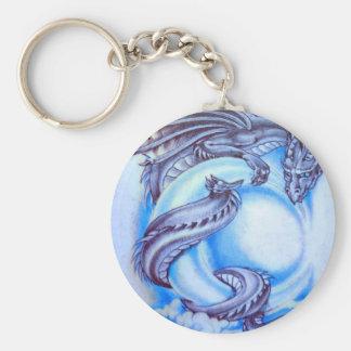 Dragon de lune bleue porte-clé rond