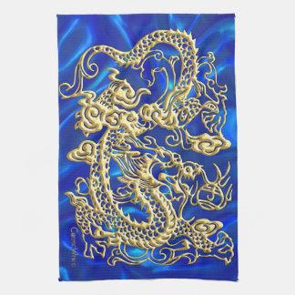 Dragon de relief d'or linge de cuisine