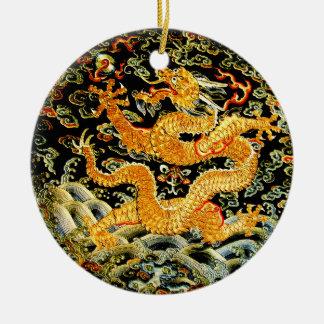 Dragon d'or brodé par antiquité chinoise de ornement rond en céramique