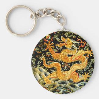 Dragon d'or brodé par antiquité chinoise de zodiaq porte-clé rond