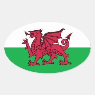 Dragon du Pays de Galles Autocollant Ovale