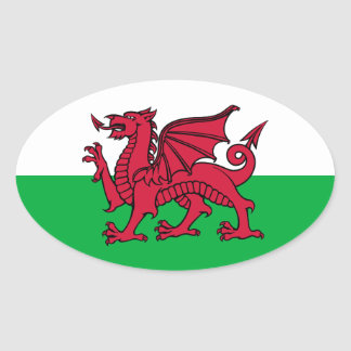 Dragon du Pays de Galles Sticker Ovale