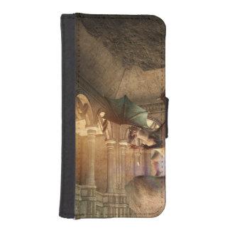 Dragon en position d'attaque dans un château coque avec portefeuille pour iPhone 5