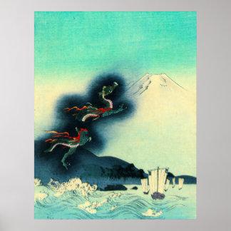 Dragon et mont Fuji 1910 Posters