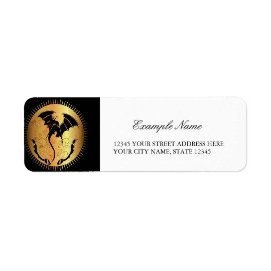Dragon extraordinaire dans l'or et le noir étiquettes d'adresse retour