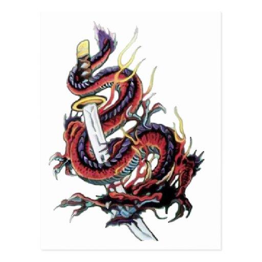 Dragon japonais katana de sui riu cartes postales zazzle - Dragon japonais ...