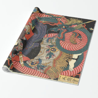 Dragon japonais traditionnel vintage papier cadeau