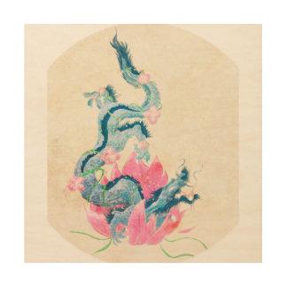 Dragon Lotus, art en bois de mur