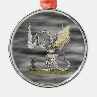 Dragon mécanique ornement rond argenté