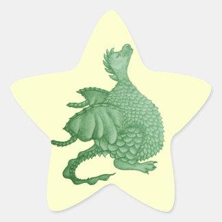 dragon mignon mythique et art de créature d'imagin autocollant en étoile