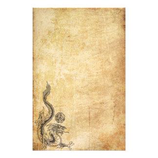 Dragon oriental encré papier à lettre customisé