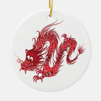 Dragon Ornement Rond En Céramique