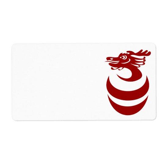 Dragon rouge dans l'étiquette d'oeufs étiquettes d'expédition