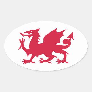 Dragon rouge de Gallois Stickers Ovales
