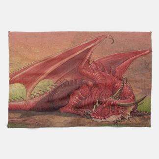 Dragon rouge de sommeil serviettes éponge