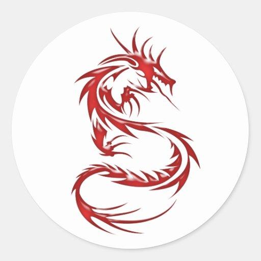 Dragon rouge de tatouage adhésifs ronds