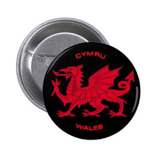 Dragon rouge du Pays de Galles (Cymru), dos noir Badge