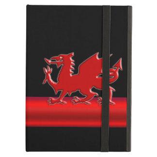 Dragon rouge stylisé de Gallois, bande métallique