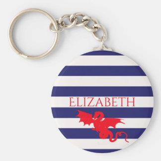 Dragon rouge sur le nom bleu et blanc classique de porte-clé rond