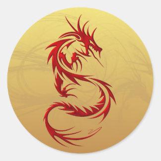 Dragon tribal sticker rond