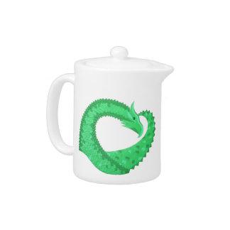 Dragon vert de coeur sur le blanc