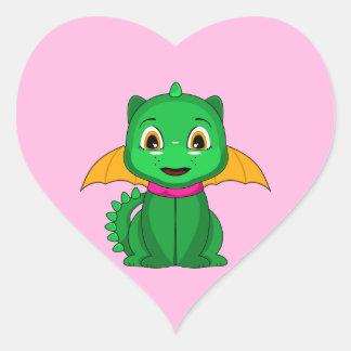 Dragon vert et orange de Chibi Sticker Cœur