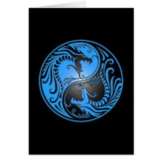 Dragons, bleu et noir de Yin Yang Carte De Vœux