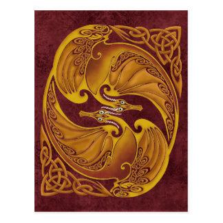 Dragons celtiques ornementaux carte postale