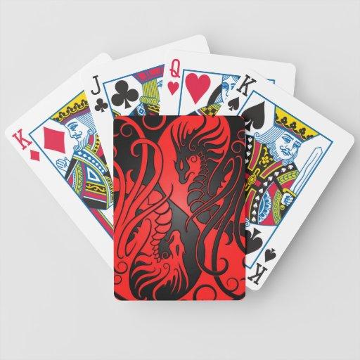 Dragons de Yin Yang de vol - rouge et noir Jeu De 52 Cartes