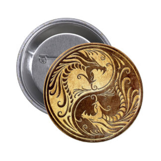 Dragons en pierre de Yin Yang Badges Avec Agrafe