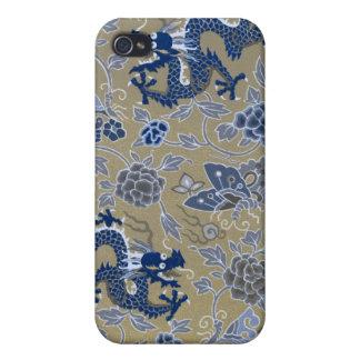 Dragons, fleurs, et papillons bleus coques iPhone 4/4S