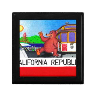 Drapeau 2 d'ours de San Francisco la Californie Petite Boîte À Bijoux Carrée