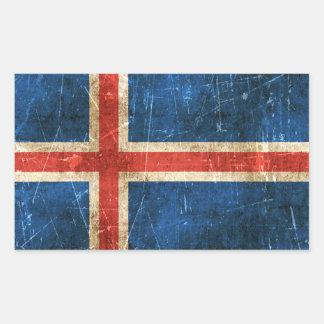 Drapeau âgé et rayé de cru de l'Islande Sticker Rectangulaire