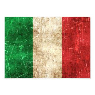 Drapeau âgé et rayé de cru de l'Italie Invitation