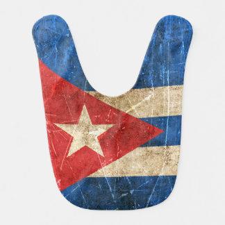 Drapeau âgé et rayé de cru du Cuba Bavoir De Bébé