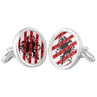 Drapeau albanais de rayures boutons de manchette