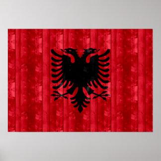 Drapeau albanais en bois poster