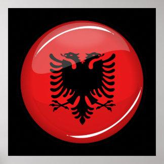 Drapeau albanais rond brillant poster