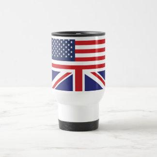 Drapeau américain anglais 2 mug de voyage en acier inoxydable
