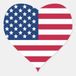 Drapeau américain autocollant en cœur