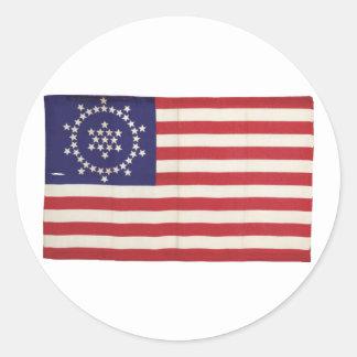 Drapeau américain avec 48 étoiles Whipple Sticker Rond