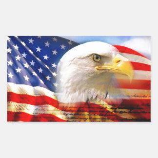 Drapeau américain avec Eagle chauve Sticker Rectangulaire