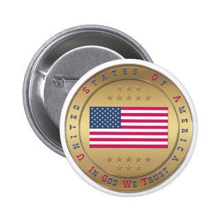 Drapeau américain badge rond 5 cm