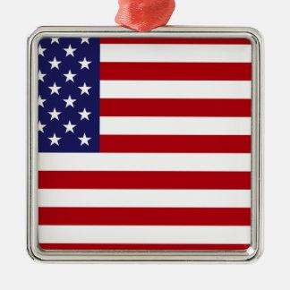 Drapeau américain - bannière étoilée - vieille ornement carré argenté