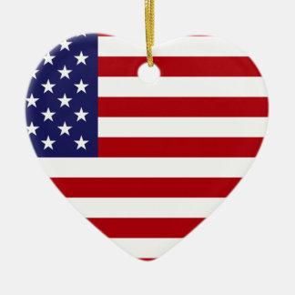 Drapeau américain - bannière étoilée - vieille ornement cœur en céramique