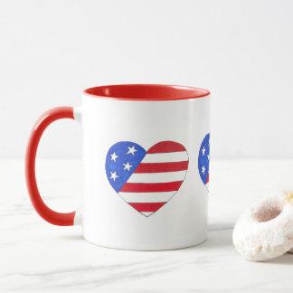 Drapeau américain bleu blanc rouge de coeur tasses