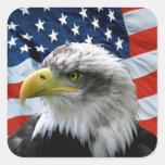 Drapeau américain chauve patriotique d'Eagle Autocollants Carrés